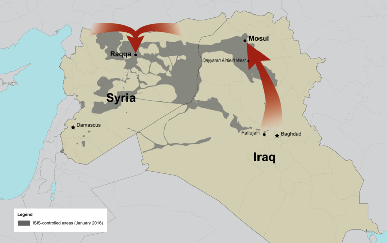 Map of Iraq and Syria showing the two red arrows
