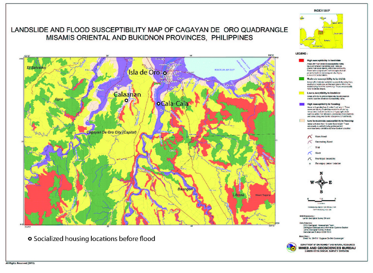 Figure 3: Hazard map of the Cagayan de Oro area from 2011 (before Tropical Storm Sendong occurred) showing areas with high susceptibility to flooding and landslides (purple and red, respectively) 48. Socialized housing locations also indicated.