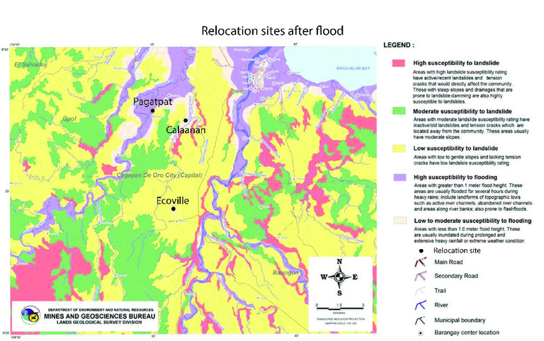 Figure 6: Location of major relocation sites superimposed on hazard map showing areas with high susceptibility to flooding or landslides (purple and red, respectively). Adapted from Philippine Mines and Geosciences Bureau, 2011.