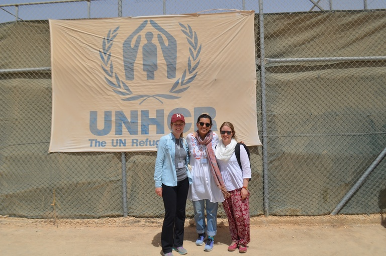 Anina Hewey, Farida El-Gueretly, and Sonya Temko in Za'atari Refugee Camp.