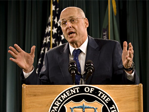 Treasury Secretary Henry Paulson briefs reporters about efforts to heal the crisis in the U.S. financial markets, Sept. 19, 2008. (AP Photo)