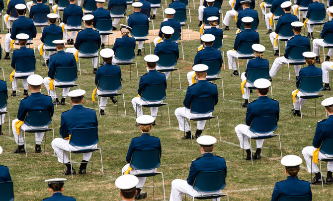 Cadets sit on the terrazzo during the U.S. Air Force Academy's Class of 2020 Graduation Ceremony