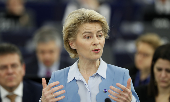 European Commission President Ursula von der Leyen delivers her speech during a debate on a proposed mandate for negotiations for a new partnership with the United Kingdom of Great Britain and Northern Ireland, at the European Parliament in Strasbourg, eastern France, Tuesday, Feb.11, 2020.