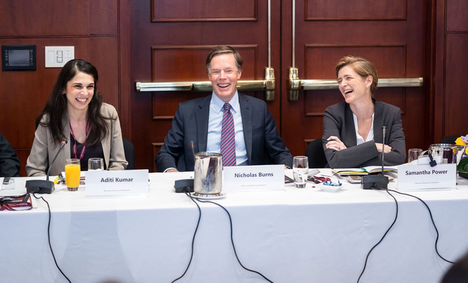 Aditi Kumar, Nicholas Burns, and Samantha Power
