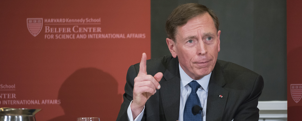 David Petraeus gestures while speaking at an event to launch his website on strategic leadership.