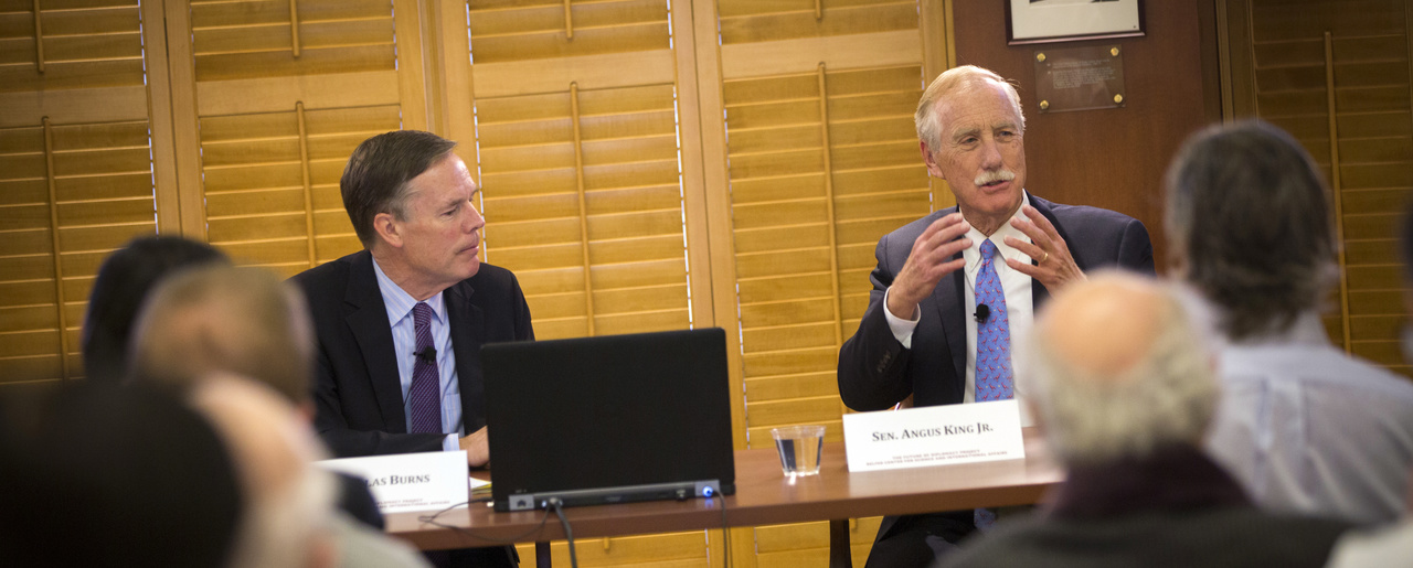 Senator Angus King speaks with Nicholas Burns at the Future of Diplomacy Project