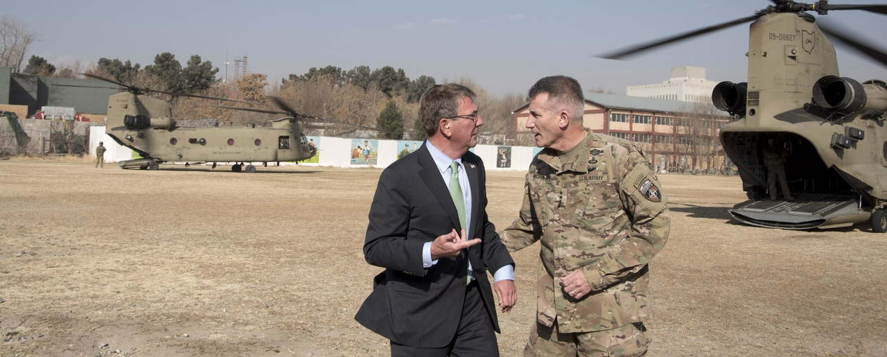 Defense Secretary Ash Carter talks with Army Gen. John Nicholson, commander of Resolute Support and U.S. Forces Afghanistan, after arriving at the Resolute Support headquarters in Kabul, Afghanistan, Dec. 9, 2016 (DoD photo by Air Force Tech. Sgt. Brigitte N. Brantley).