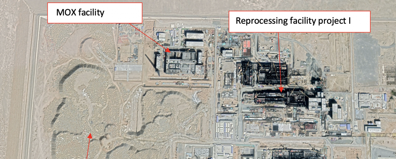 The demo reprocessing and MOX facilities under construction at Jinta, Gansu. Satellite image from March 1, 2020 (Coordinates: 40.333750, 98.494167). Note that significant construction activities for reprocessing facility project II likely started after December 2020. This March 2020 image shows related ground preparations.