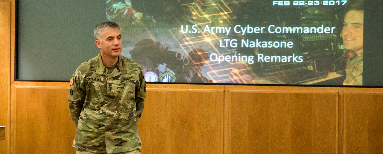 Lt. Gen. Paul Nakasone, commander of U.S. Army Cyber Command, speaks at the ARCYBER-led Total Army Cyber Summit at Fort Belvoir, Va. on Feb. 22, 2017. Nakasone is responsible for planning cyber operations to disable Iran's air defense systems in case of conflict.
