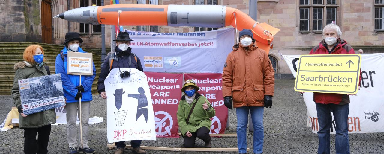 A demonstration in support of the TPNW in Germany in January 2021.