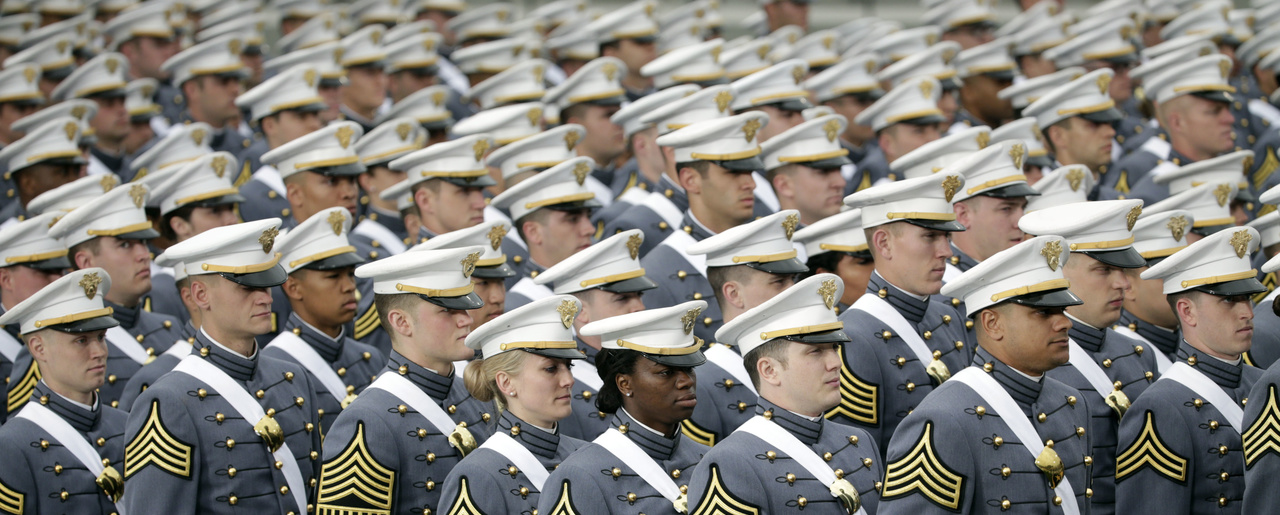 Graduating cadets line up during a graduation and commissioning ceremony at the U.S. Military Academy on Saturday, May 21, 2016, in West Point, N.Y. (AP Photo/Mike Groll)
