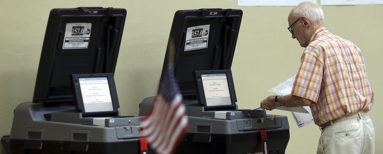 Voting machines in Miami Shores, Fla., Nov. 8, 2016.