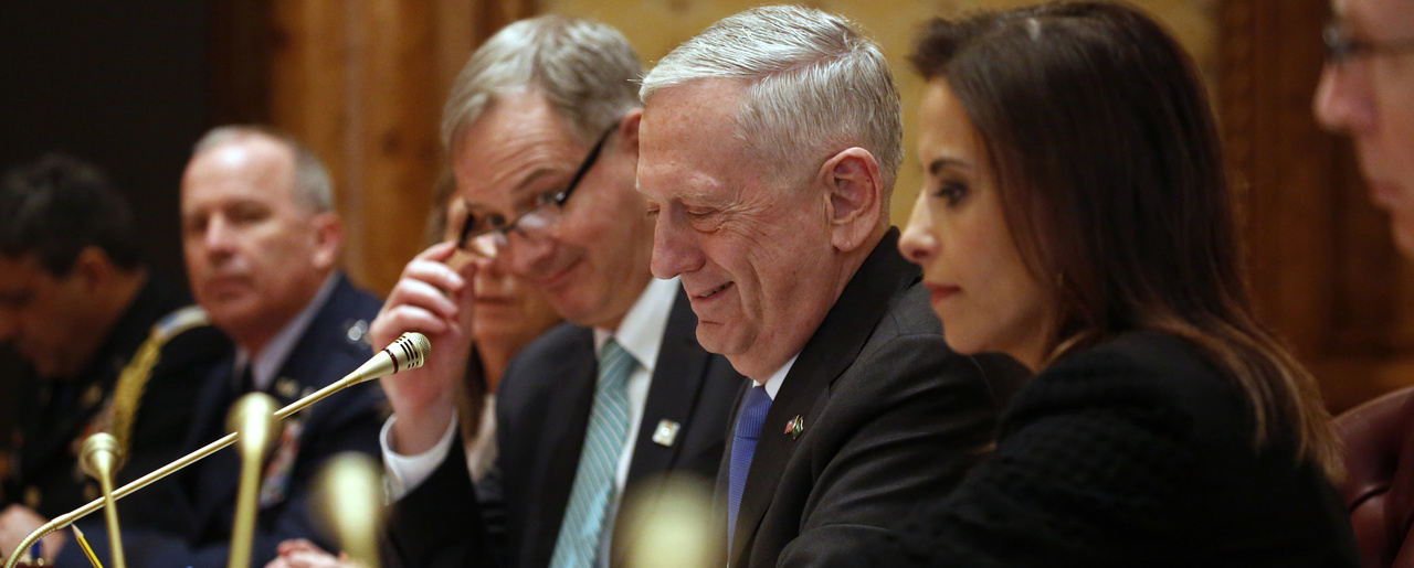 Strategic Listening: Deputy National Security Advisor Dina Powell (right), in a meeting with Saudi Arabia's Deputy Crown Prince Mohammad bin Salman (not pictured), in Riyadh, Saudi Arabia, along with U.S. Defense Secretary James Mattis (center) and U.S. Embassy Charge d'Affaires Christopher Henzel in April 2017.