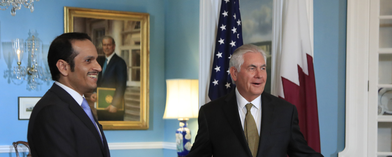 Secretary of State Rex Tillerson gestures as he responds to a reporter's question during a meeting with Qatar's Foreign Minister Sheikh Mohammed bin Abdulrahman Al Thani at the State Department in Washington, Wednesday, July 26, 2017. (AP Photo/Manuel Balce Ceneta)