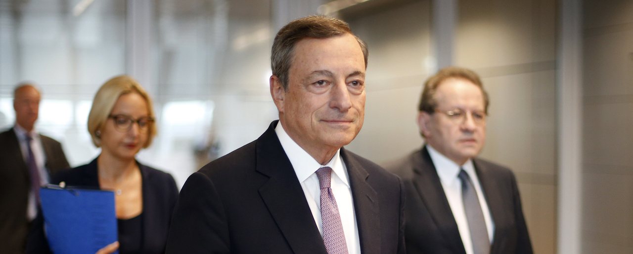 President of the European Central Bank Mario Draghi comes to a news conference following a meeting of the governing council in Frankfurt, Germany, on Sept. 7, 2017 (AP Photo/Michael Probst).
