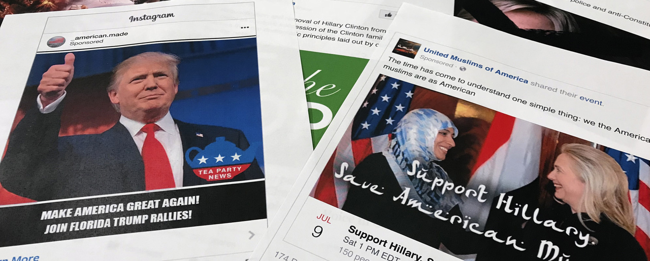 Some of the Facebook and Instagram ads linked to a Russian effort to disrupt the American political process and stir up tensions around divisive social issues, released by members of the U.S. House Intelligence committee, are photographed in Washington. November 1, 2017 (Jon Elswick/Associated Press). Keywords: social media, Russia, Facebook, Trump, Clinton