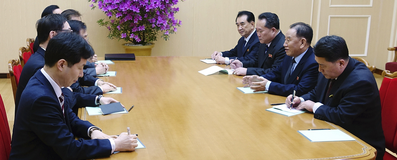 Kim Yong Chol, vice chairman of North Korea's ruling Workers' Party Central Committee, second from right, talks with the South Korean delegation in Pyongyang, North Korea. March 5, 2018 (South Korea Presidential Blue House/Yonhap via Associated Press). Keywords: South Korea, North Korea