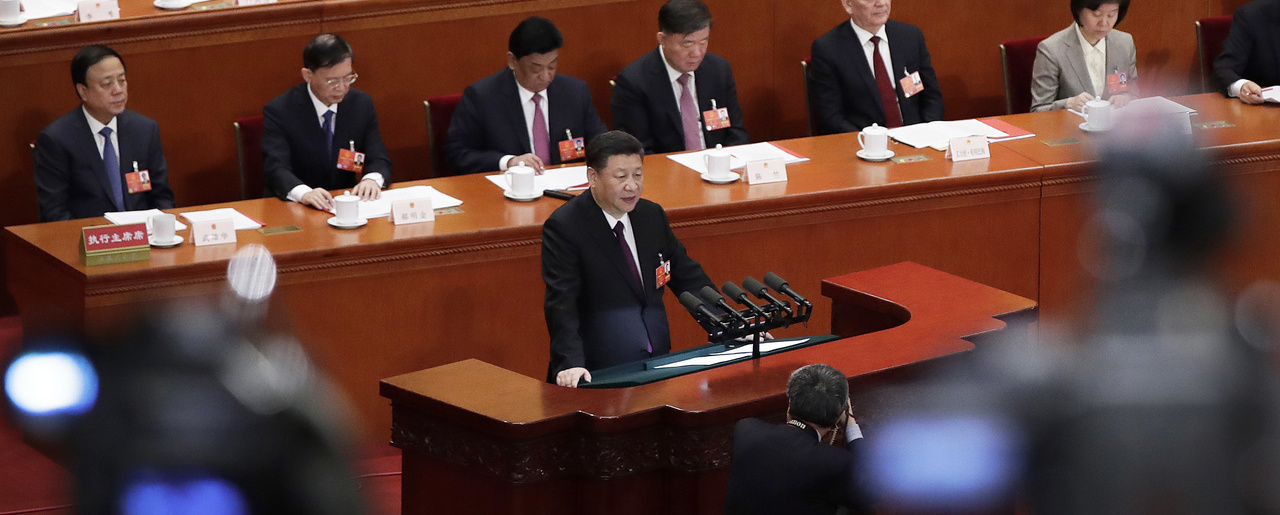 Chinese President Xi Jinping delivers a speech at the closing session of the annual National People's Congress at the Great Hall of the People in Beijing on Tuesday, March 20, 2018. (AP Photo/Andy Wong)