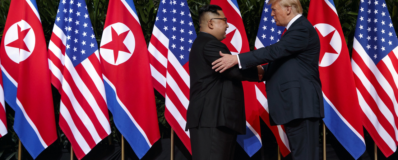 President Donald Trump meets with North Korean leader Kim Jong Un on Sentosa Island, June 12, 2018, in Singapore. (AP Photo/Evan Vucci)