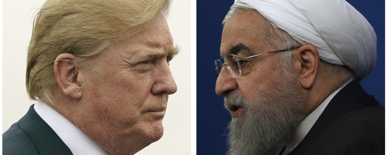 This combination of two pictures shows U.S. President Donald Trump, left, on July 22, 2018, and Iranian President Hassan Rouhani on February 6, 2018