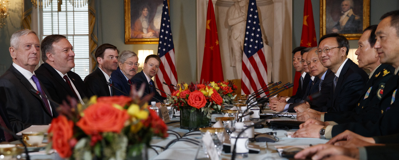 Secretary of Defense Jim Mattis, left, Secretary of State Mike Pompeo, second from left, Chinese Politburo Member Yang Jiechi third from right, and Chinese State Councilor and Defense Minister General Wei Fenghe, second from right, meet at the State Department in Washington, November 9, 2018.