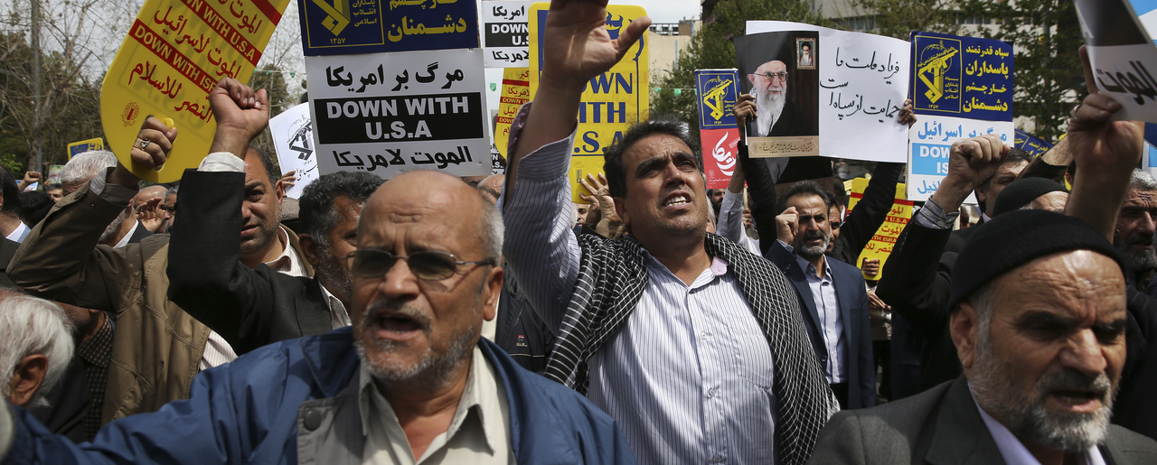 Demonstrators in Tehran protest the U.S. decision to designate Iran's Revolutionary Guards as a foreign terrorist organization in April 2019 (AP Photo/Vahid Salemi).