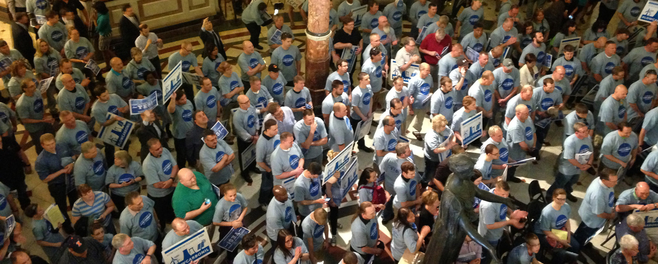 Workers, union members and other supporters rally to provide a financial incentive for nuclear power and low-carbon emissions at the State Capitol, in Springfield, Illinois on May 6, 2016