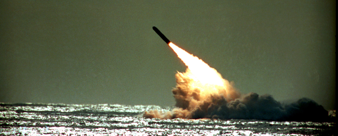 A missile is launched from a U.S. Navy submarine in the Atlantic Ocean in 1989 (Phil Sandlin/Associated Press).