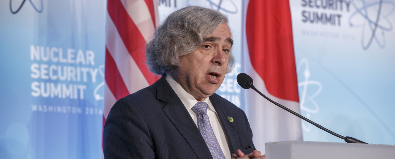 U.S. Secretary of Energy Ernest Moniz delivers a joint statement to reporters with Japan's Deputy Chief Cabinet Secretary Koichi Hagiuda after meetings at the Nuclear Security Summit in Washington, Friday, April 1, 2016. (AP Photo/J. Scott Applewhite)