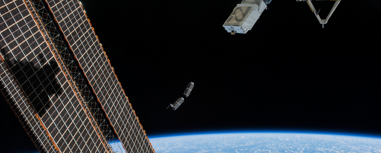 A set of NanoRacks CubeSats is deployed from the International Space Station, February 25, 2014.
