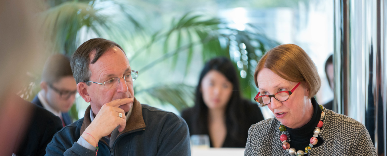 As Harvard's James Waldo listens, MIT Research Scientist / Ethicist Jeantine Lunshof makes a point during a discussion of biotech and ethics at an emerging technologies meeting.