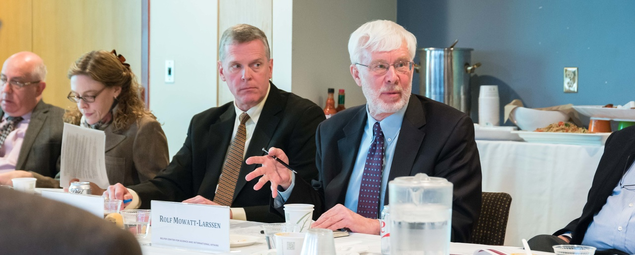 Rolf Mowatt-Larssen (right) and Kevin Ryan discuss a recent meeting of The Elbe Group regarding common interests and maintaining an open line of communication between the U.S. and Russia.