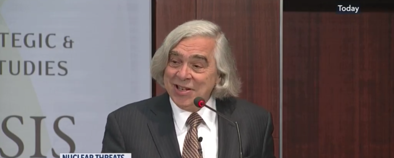 Ernest Moniz, CEO and Co-Chair of Nuclear Threat Initiative and secretary of energy under Obama speaking at CSIS on Thursday, January 11, 2018. (CSPAN)