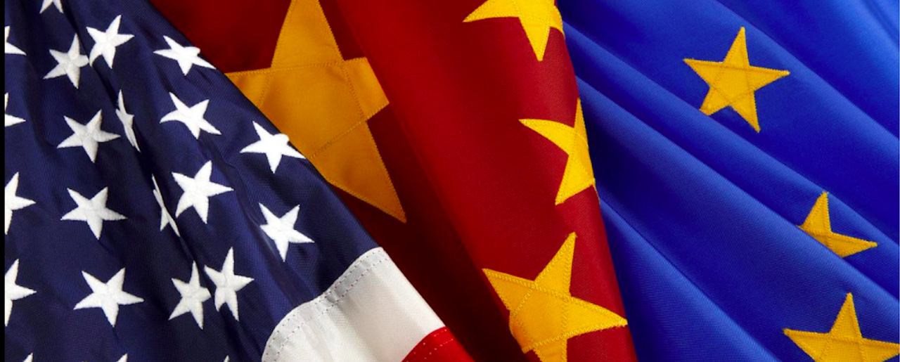 US, China and Europe flags