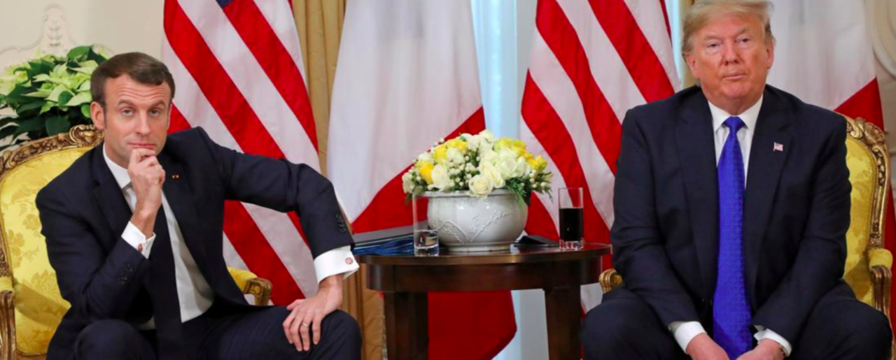 U.S. President Donald Trump with French President Emmanuel Macron