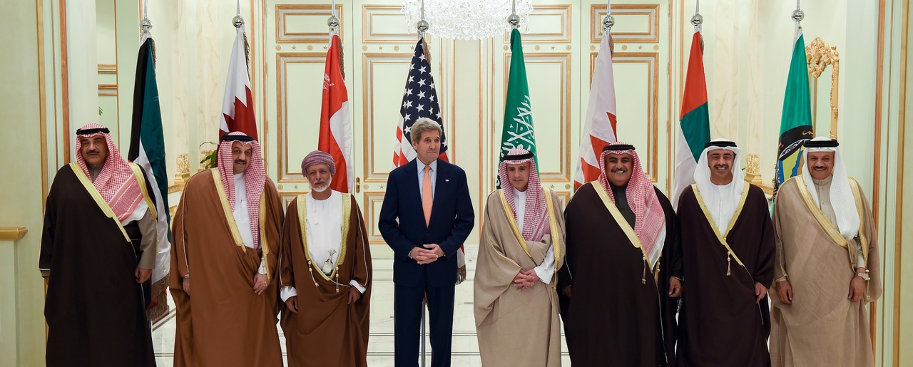 U.S. Secretary of State John Kerry stands with other Foreign Ministers whose countries are members of the Gulf Cooperation Council following a meeting on January 23, 2016, in Riyadh, Saudi Arabia.