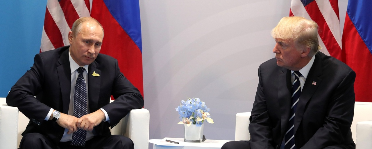 Vladimir Putin and Donald Trump meet at the 2017 G-20 Hamburg Summit, July 7, 2017.