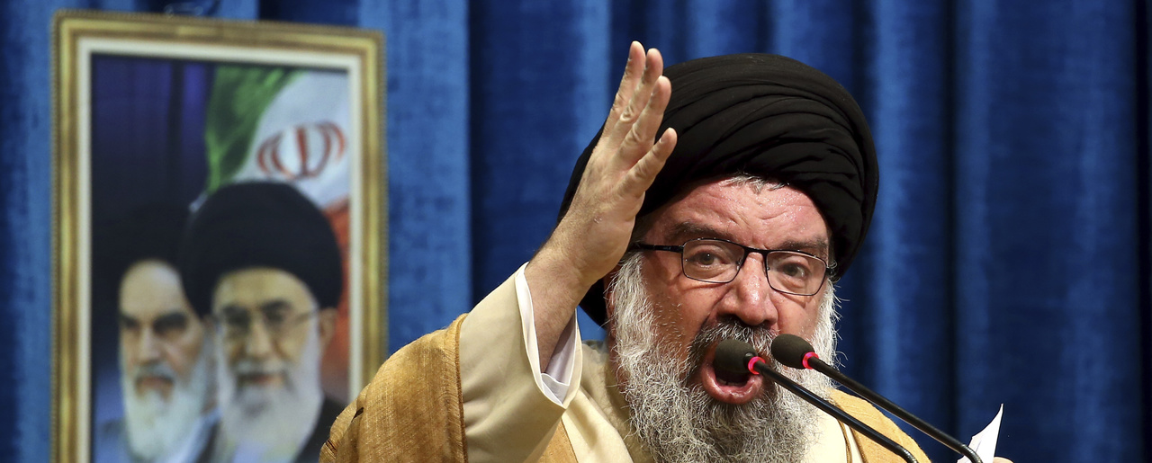 Iranian senior cleric Ahmad Khatami delivers his sermon during Friday prayer ceremony in Tehran