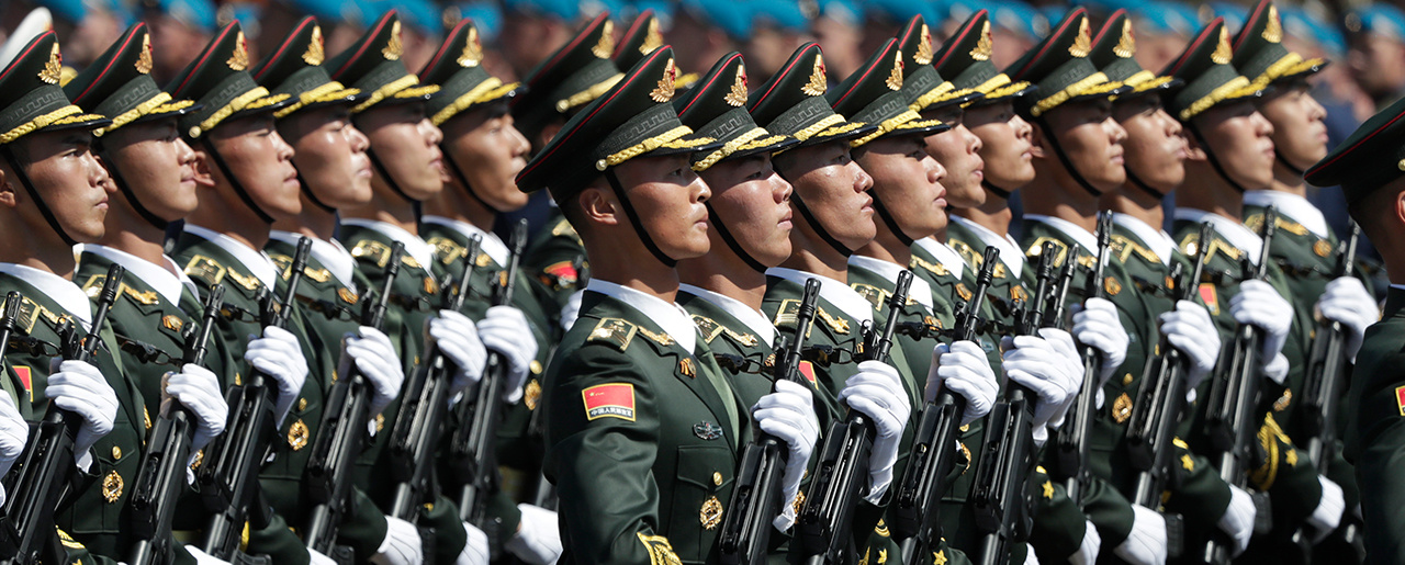 Soldiers from China's People's Liberation Army march toward Red Square during the Victory Day military parade marking the 75th anniversary of the Nazi defeat in Moscow, Russia, Wednesday, June 24, 2020.