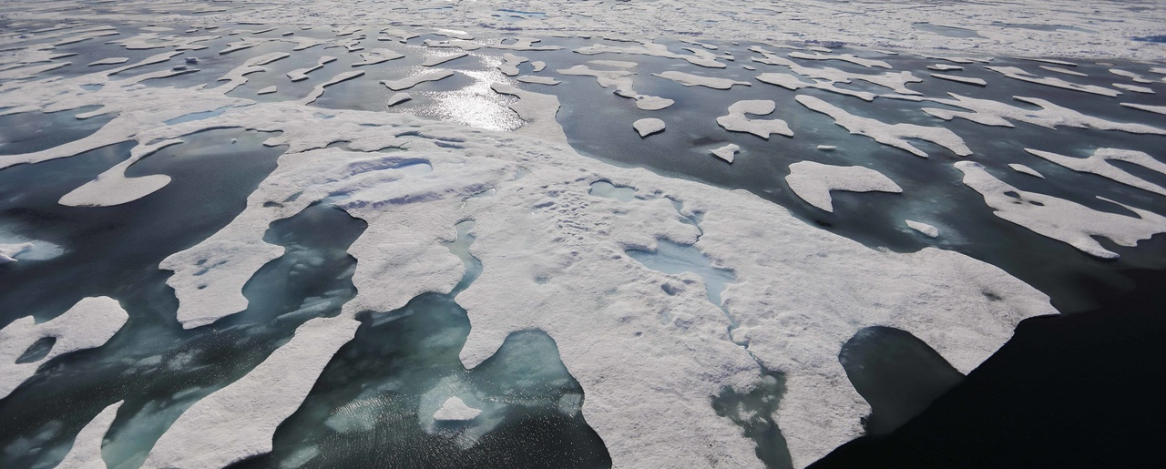Sea ice melts on the Franklin Strait along the Northwest Passage in the Canadian Arctic Archipelago