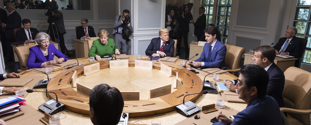 President Donald J. Trump at a working session at the G7 Summit.