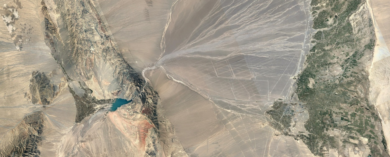 A satellite view of the Gansu Wind Farm Project under construction in China's western Gansu province. Construction began in 2009 toward a planned total generation capacity of 20,000 MW.