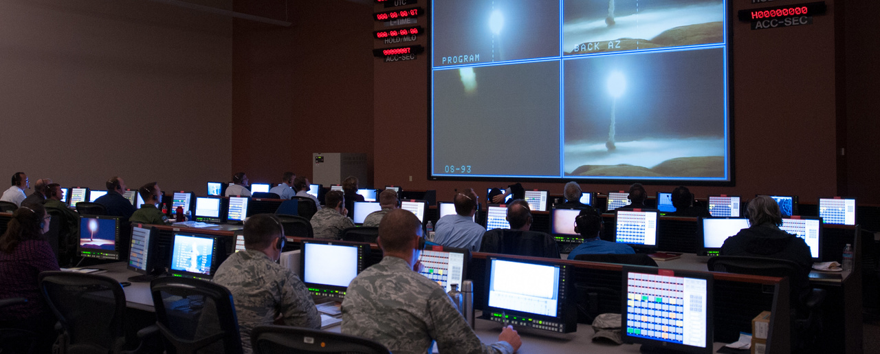 Members of the 576th Flight Test Squadron monitor an operational test launch of an unarmed Minuteman III missile