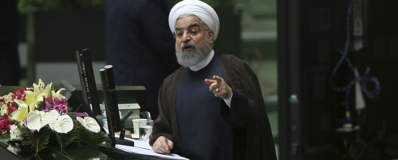 Hassan Rouhani speaks in a session of parliament