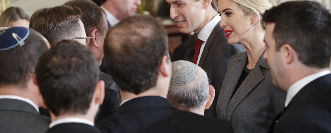Ivanka Trump and  Jared Kushner greet members of the Israeli delegation in the East Room of the White House.