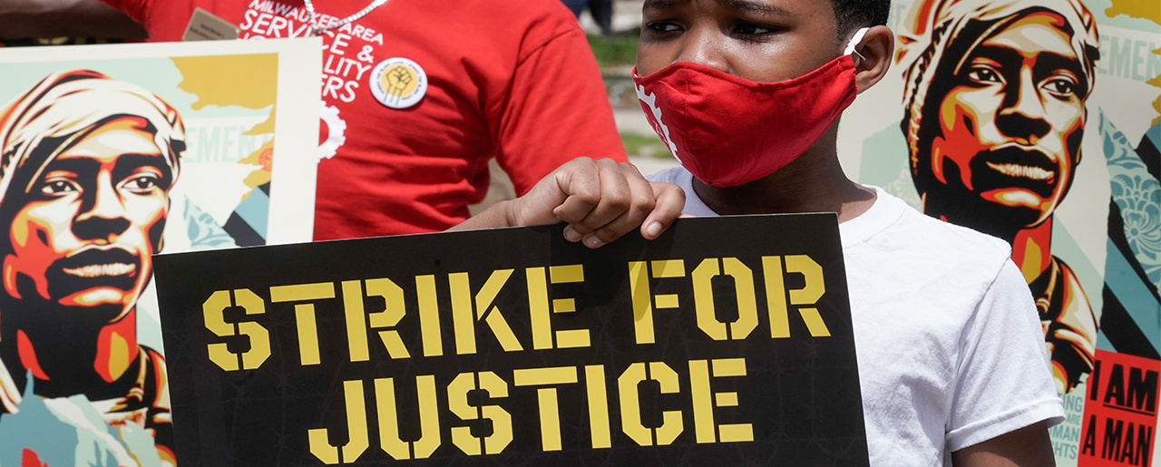 Strike for justice protesters in Milwaukee, Monday, July 20, 2020.
