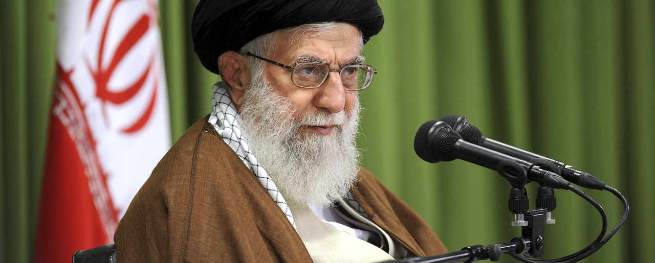 Supreme Leader Ayatollah Ali Khamenei speaks at a meeting in Tehran.
