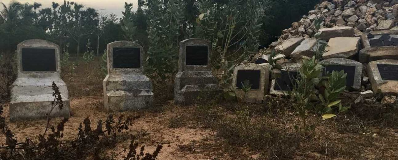 Memorial constructed at destroyed LTTE cemetery, Kilinochchi