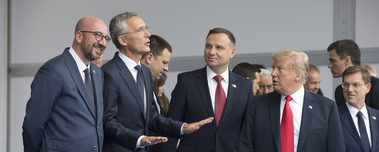 NATO leaders assemble for the family portrait prior to the NATO summit.
