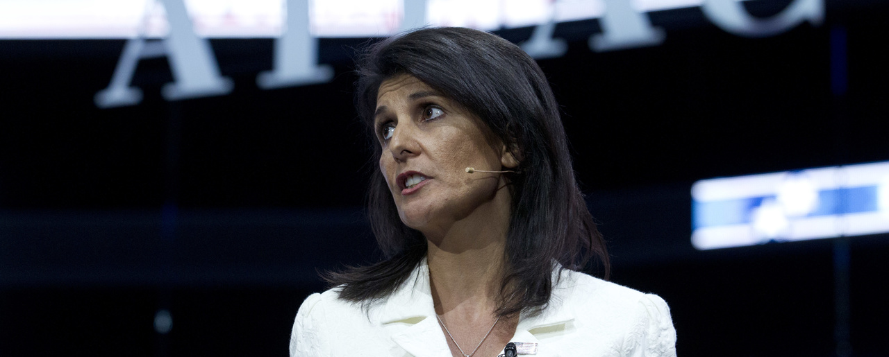 Nikki Haley speaks at AIPAC conference.